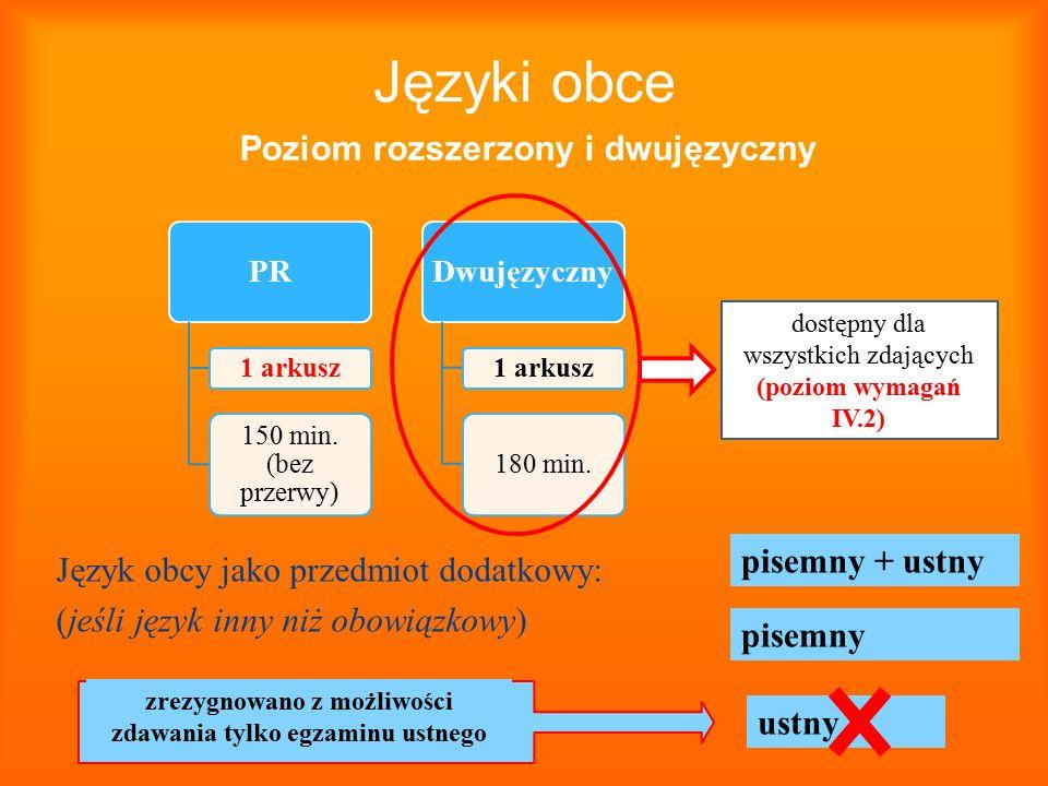 Języki obce Język obcy jako przedmiot dodatkowy: (jeśli język inny niż obowiązkowy) PR 1 arkusz 150 min. (bez przerwy) Dwujęzyczny 1 arkusz 180 min. d