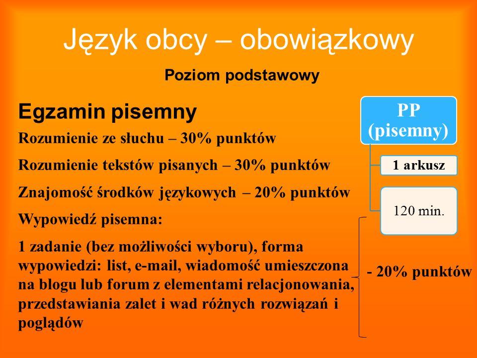 Język obcy – obowiązkowy PP (pisemny) 1 arkusz 120 min. Egzamin pisemny Poziom podstawowy Rozumienie ze słuchu – 30% punktów Rozumienie tekstów pisany