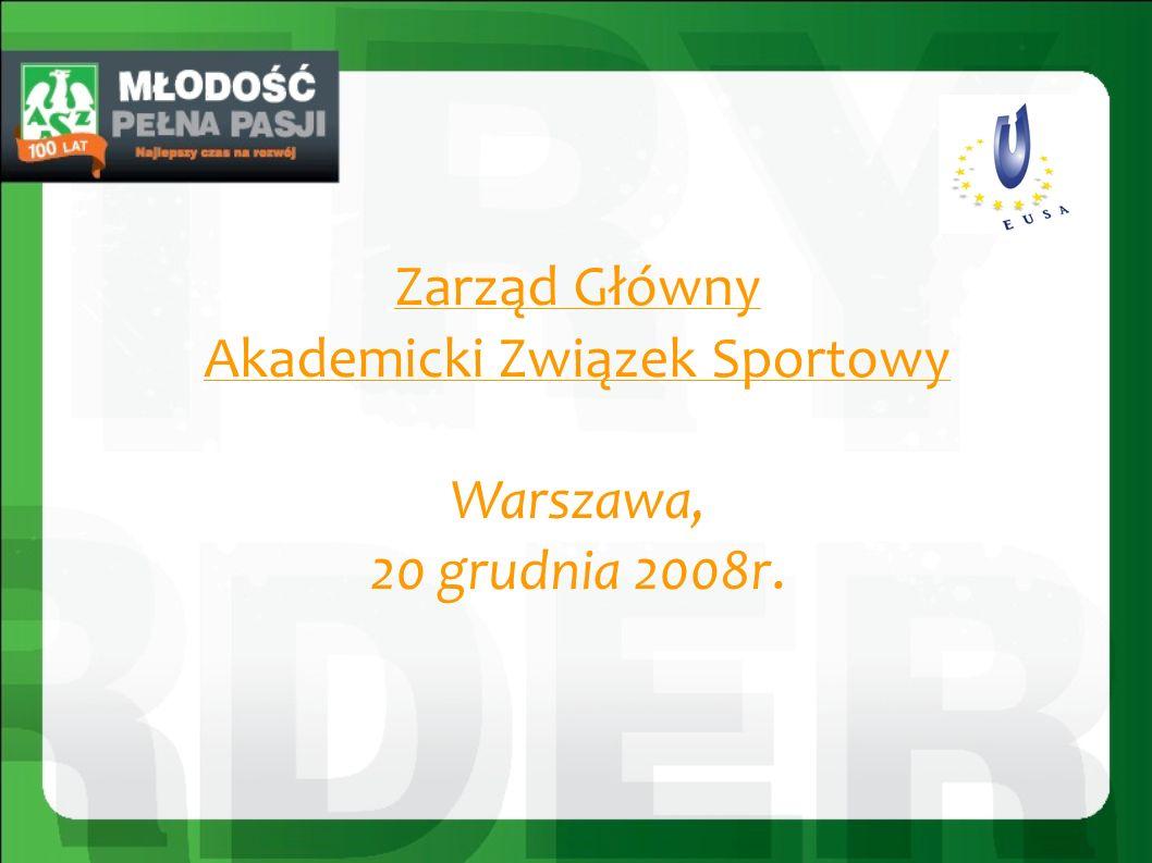 Zarząd Główny Akademicki Związek Sportowy Warszawa, 20 grudnia 2008r.