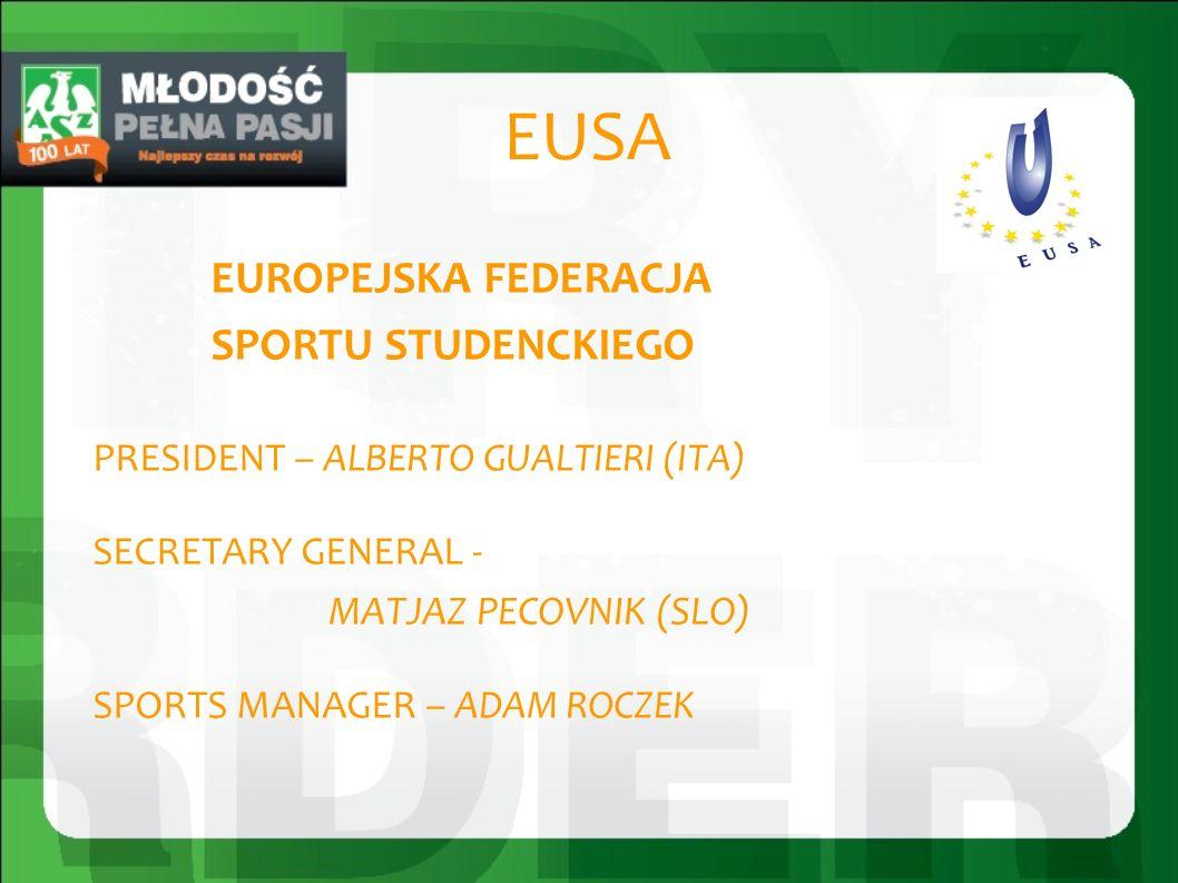 EUSA EUROPEJSKA FEDERACJA SPORTU STUDENCKIEGO PRESIDENT – ALBERTO GUALTIERI (ITA) SECRETARY GENERAL - MATJAZ PECOVNIK (SLO) SPORTS MANAGER – ADAM ROCZEK