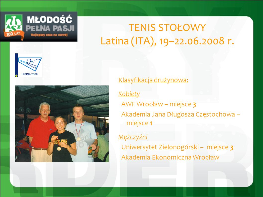 TENIS STOŁOWY Latina (ITA), 19–22.06.2008 r.