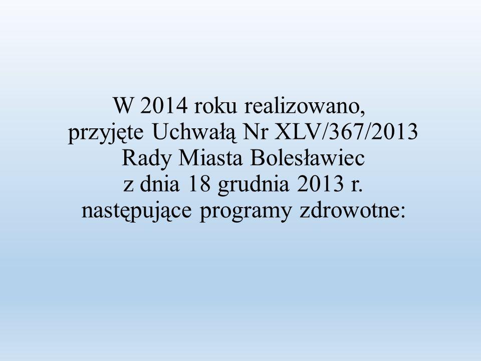 W 2014 roku realizowano, przyjęte Uchwałą Nr XLV/367/2013 Rady Miasta Bolesławiec z dnia 18 grudnia 2013 r.