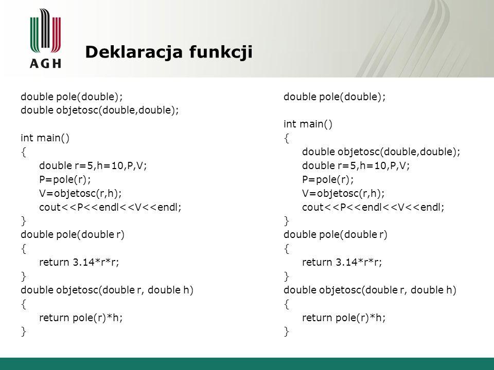 Deklaracja funkcji double pole(double); double objetosc(double,double); int main() { double r=5,h=10,P,V; P=pole(r); V=objetosc(r,h); cout<<P<<endl<<V
