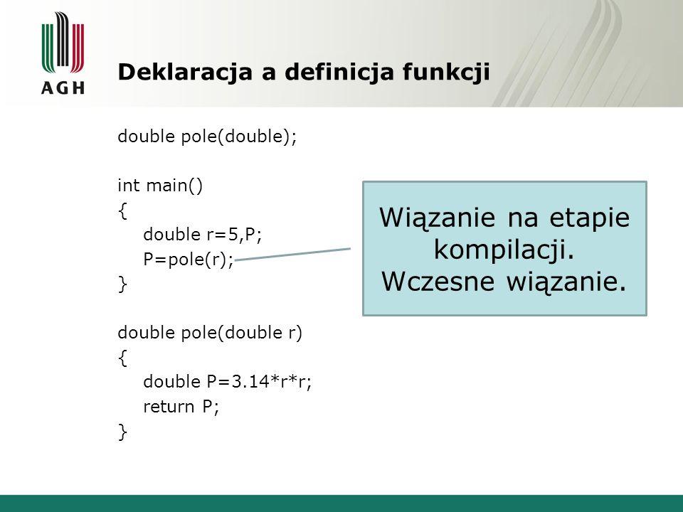 Deklaracja a definicja funkcji double pole(double); int main() { double r=5,P; P=pole(r); } double pole(double r) { double P=3.14*r*r; return P; } Wią