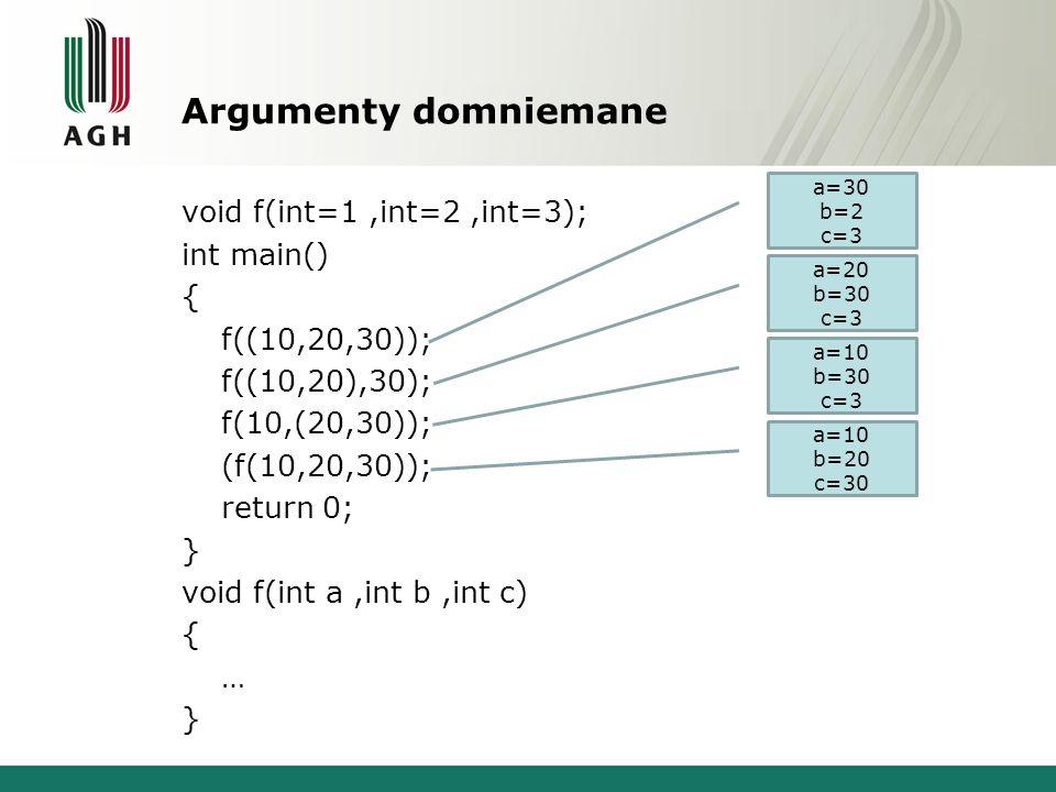 Argumenty domniemane void f(int=1,int=2,int=3); int main() { f((10,20,30)); f((10,20),30); f(10,(20,30)); (f(10,20,30)); return 0; } void f(int a,int