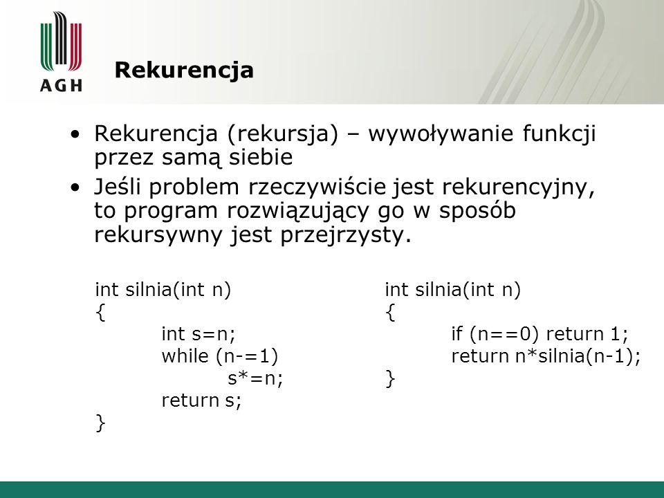 Rekurencja Rekurencja (rekursja) – wywoływanie funkcji przez samą siebie Jeśli problem rzeczywiście jest rekurencyjny, to program rozwiązujący go w sp