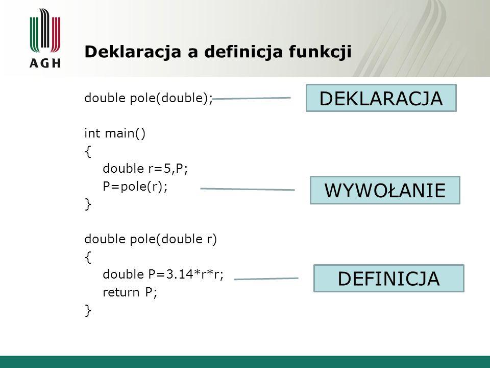 Deklaracja a definicja funkcji double pole(double); int main() { double r=5,P; P=pole(r); } double pole(double r) { double P=3.14*r*r; return P; } DEK