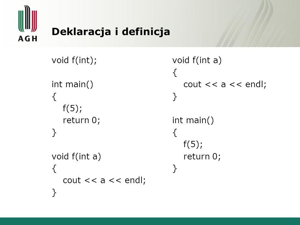 Deklaracja funkcji double pole(double); double objetosc(double,double); int main() { double r=5,h=10,P,V; P=pole(r); V=objetosc(r,h); cout<<P<<endl<<V<<endl; } double pole(double r) { return 3.14*r*r; } double objetosc(double r, double h) { return pole(r)*h; } double pole(double); int main() { double objetosc(double,double); double r=5,h=10,P,V; P=pole(r); V=objetosc(r,h); cout<<P<<endl<<V<<endl; } double pole(double r) { return 3.14*r*r; } double objetosc(double r, double h) { return pole(r)*h; }