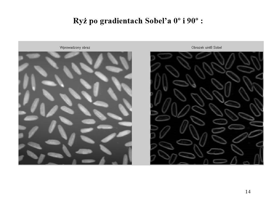 14 Ryż po gradientach Sobel'a 0º i 90º :