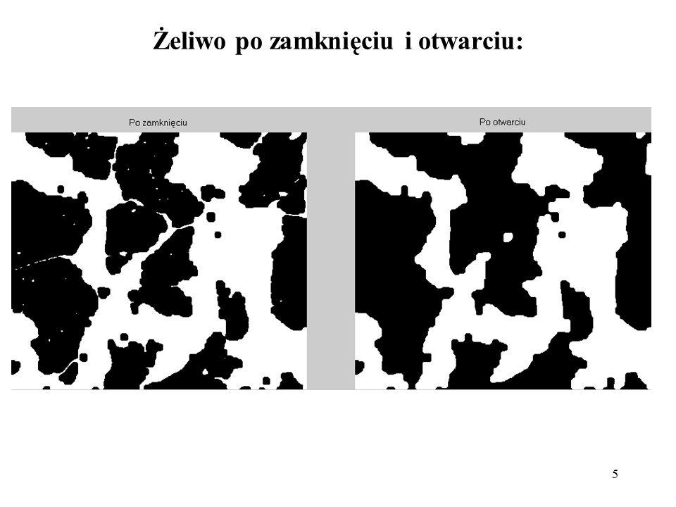 26 remove zmienia wartość piksela na 0 jeżeli jego cztero-spójne sąsiedztwo to same 1-ki, pozostawiając tylko piksele brzegowe skel szkieletyzacja obiektów, gdy n=inf usuwa punkty do uzyskania końcowego szkieletu spur usuwa punkty końcowe linii bez usuwania drobnych przedmiotów całkowicie, gdy n=inf usuwa gałęzie do końca shrink zmniejsza wymiary obiektów, gdy n=inf zmniejsza obiekty do punktów thicken gdy n=inf pogrubianie obiektów do końca bez połączenia obiektów wcześniej niepołączonych thin ścienianie obiektów, gdy n=inf usuwanie pikseli obiektów aż pozostawienia linii