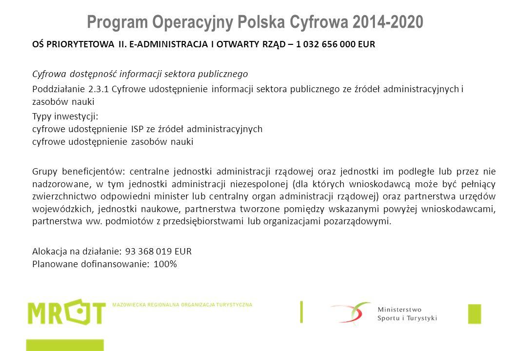 Program Operacyjny Polska Cyfrowa 2014-2020 OŚ PRIORYTETOWA II. E-ADMINISTRACJA I OTWARTY RZĄD – 1 032 656 000 EUR Cyfrowa dostępność informacji sekto