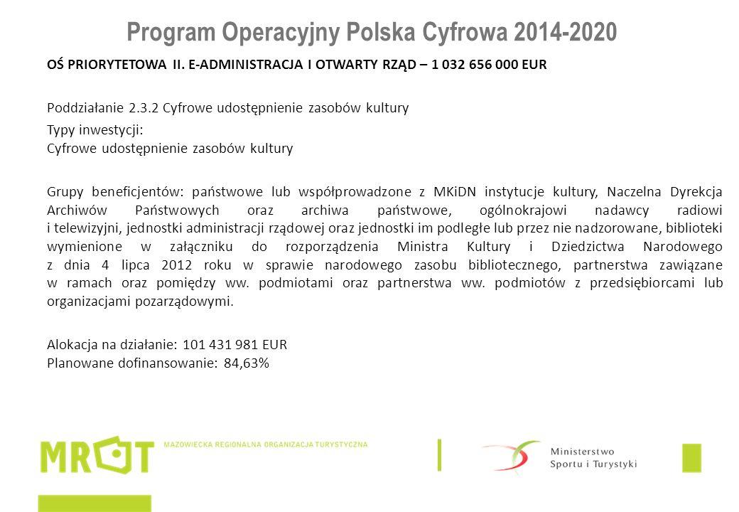 Program Operacyjny Polska Cyfrowa 2014-2020 OŚ PRIORYTETOWA II. E-ADMINISTRACJA I OTWARTY RZĄD – 1 032 656 000 EUR Poddziałanie 2.3.2 Cyfrowe udostępn