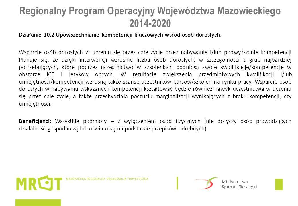 Regionalny Program Operacyjny Województwa Mazowieckiego 2014-2020 Działanie 10.2 Upowszechnianie kompetencji kluczowych wśród osób dorosłych. Wsparcie