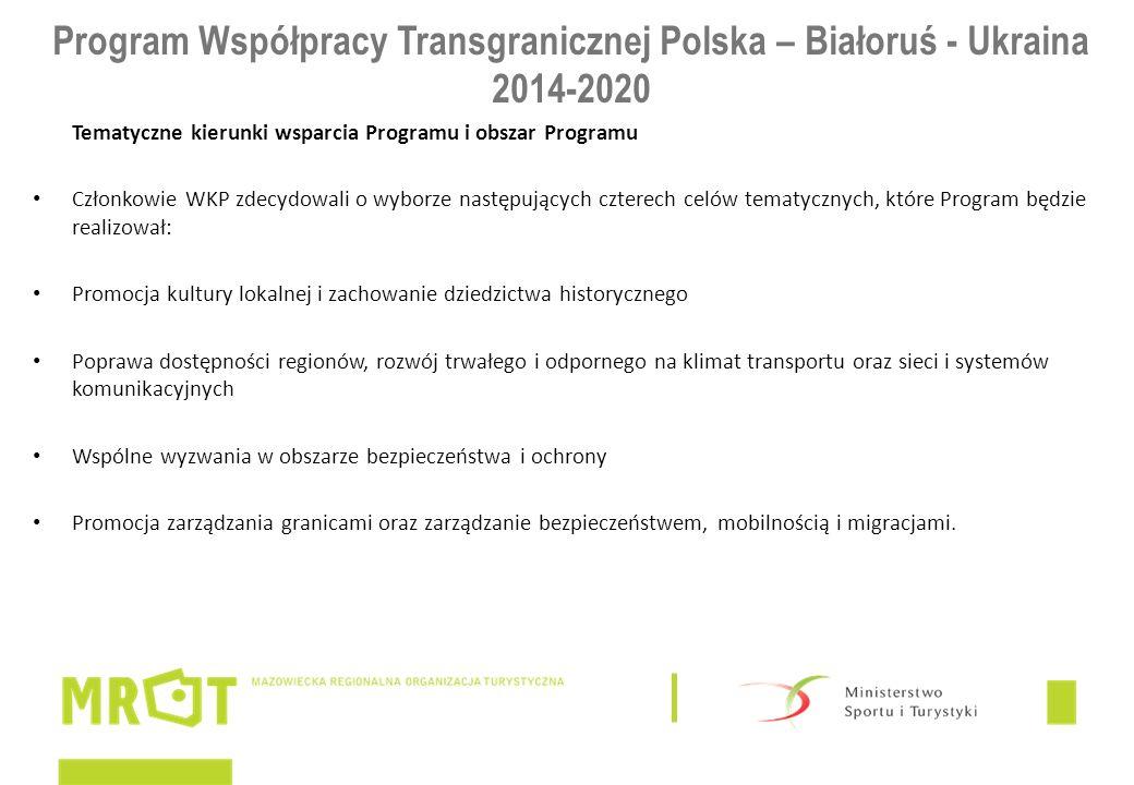 Program Współpracy Transgranicznej Polska – Białoruś - Ukraina 2014-2020 Tematyczne kierunki wsparcia Programu i obszar Programu Członkowie WKP zdecydowali o wyborze następujących czterech celów tematycznych, które Program będzie realizował: Promocja kultury lokalnej i zachowanie dziedzictwa historycznego Poprawa dostępności regionów, rozwój trwałego i odpornego na klimat transportu oraz sieci i systemów komunikacyjnych Wspólne wyzwania w obszarze bezpieczeństwa i ochrony Promocja zarządzania granicami oraz zarządzanie bezpieczeństwem, mobilnością i migracjami.