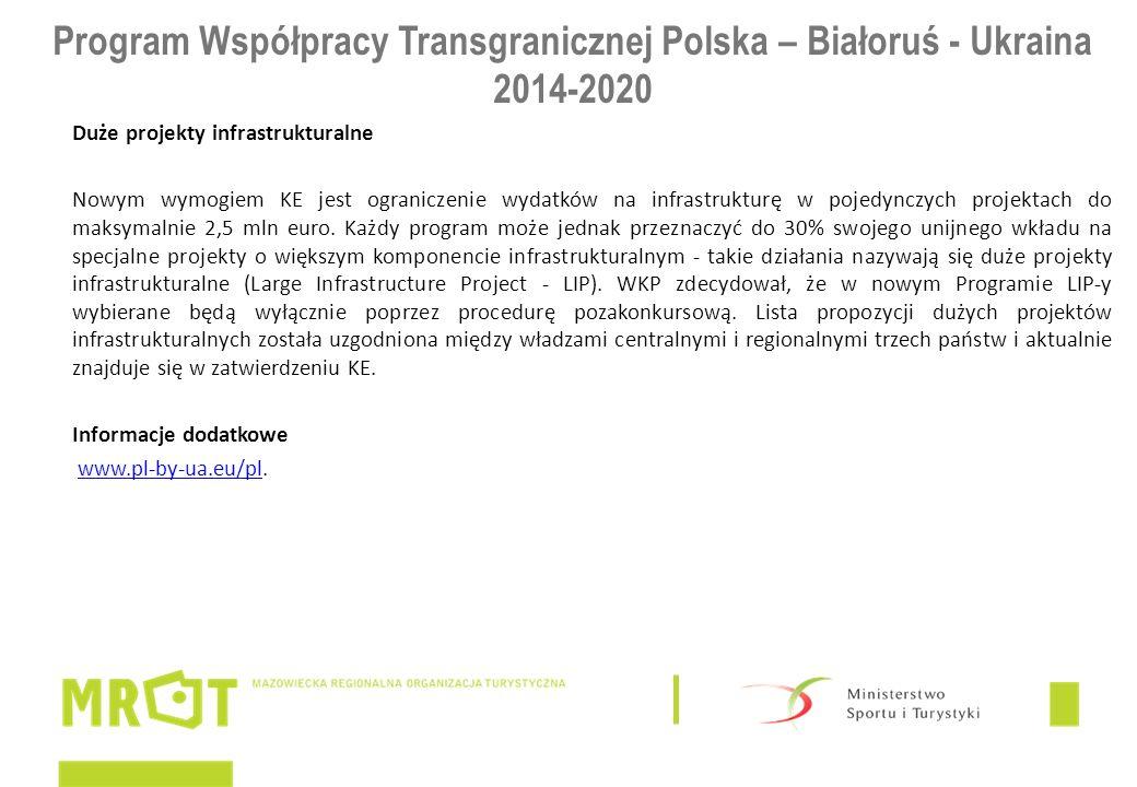 Program Współpracy Transgranicznej Polska – Białoruś - Ukraina 2014-2020 Duże projekty infrastrukturalne Nowym wymogiem KE jest ograniczenie wydatków na infrastrukturę w pojedynczych projektach do maksymalnie 2,5 mln euro.