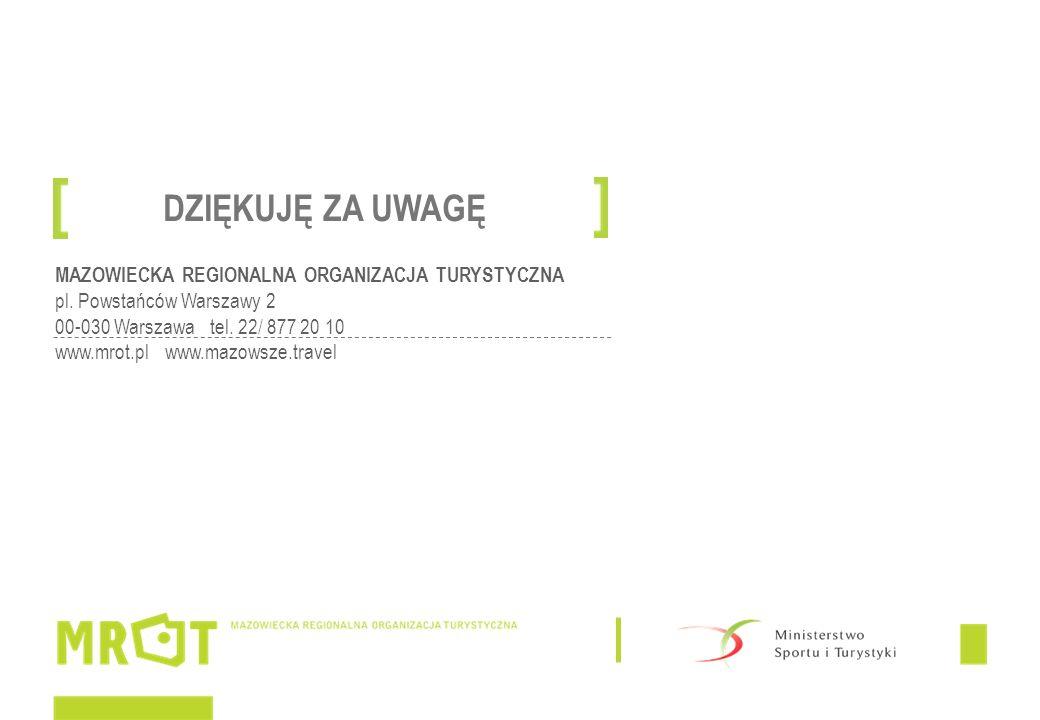 MAZOWIECKA REGIONALNA ORGANIZACJA TURYSTYCZNA pl. Powstańców Warszawy 2 00-030 Warszawa tel. 22/ 877 20 10 www.mrot.pl www.mazowsze.travel DZIĘKUJĘ ZA