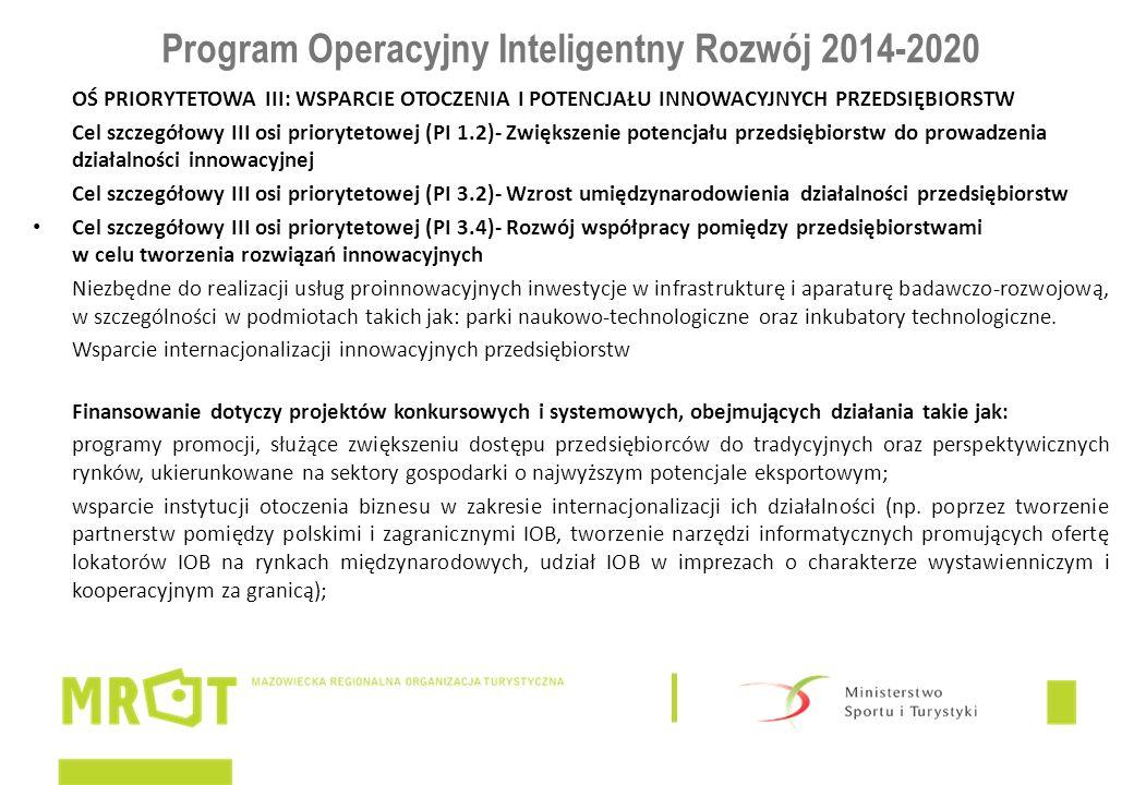 Program Operacyjny Inteligentny Rozwój 2014-2020 OŚ PRIORYTETOWA III: WSPARCIE OTOCZENIA I POTENCJAŁU INNOWACYJNYCH PRZEDSIĘBIORSTW Cel szczegółowy III osi priorytetowej (PI 1.2)- Zwiększenie potencjału przedsiębiorstw do prowadzenia działalności innowacyjnej Cel szczegółowy III osi priorytetowej (PI 3.2)- Wzrost umiędzynarodowienia działalności przedsiębiorstw Cel szczegółowy III osi priorytetowej (PI 3.4)- Rozwój współpracy pomiędzy przedsiębiorstwami w celu tworzenia rozwiązań innowacyjnych Niezbędne do realizacji usług proinnowacyjnych inwestycje w infrastrukturę i aparaturę badawczo-rozwojową, w szczególności w podmiotach takich jak: parki naukowo-technologiczne oraz inkubatory technologiczne.