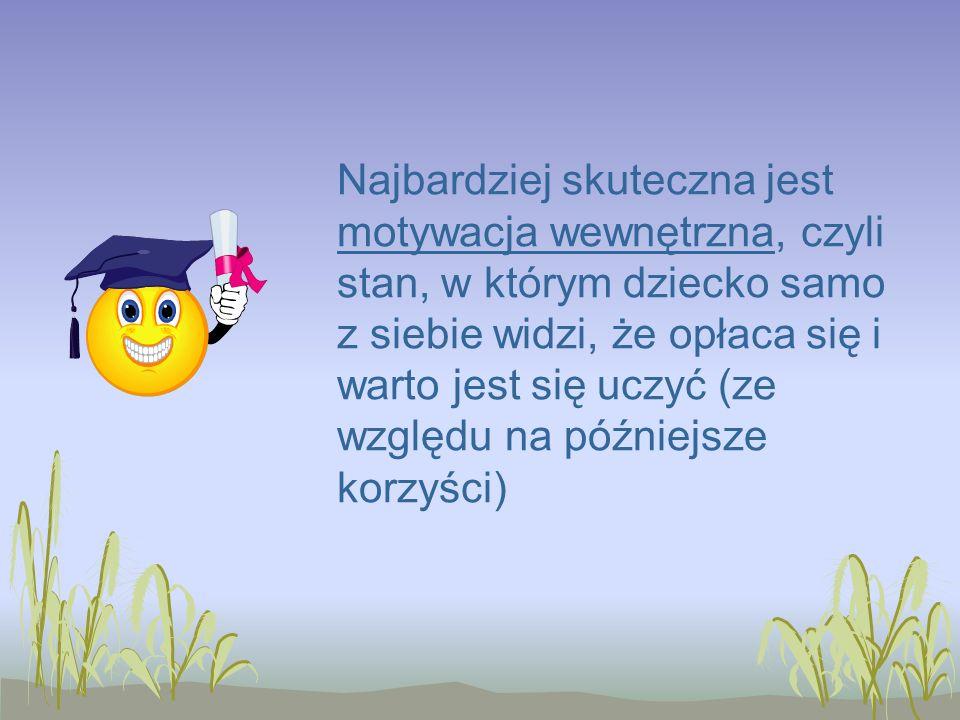Najbardziej skuteczna jest motywacja wewnętrzna, czyli stan, w którym dziecko samo z siebie widzi, że opłaca się i warto jest się uczyć (ze względu na