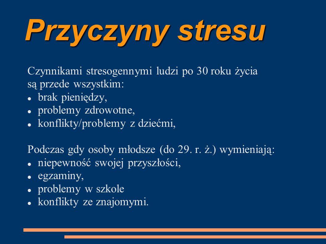 Przyczyny stresu Czynnikami stresogennymi ludzi po 30 roku życia są przede wszystkim: brak pieniędzy, problemy zdrowotne, konflikty/problemy z dziećmi