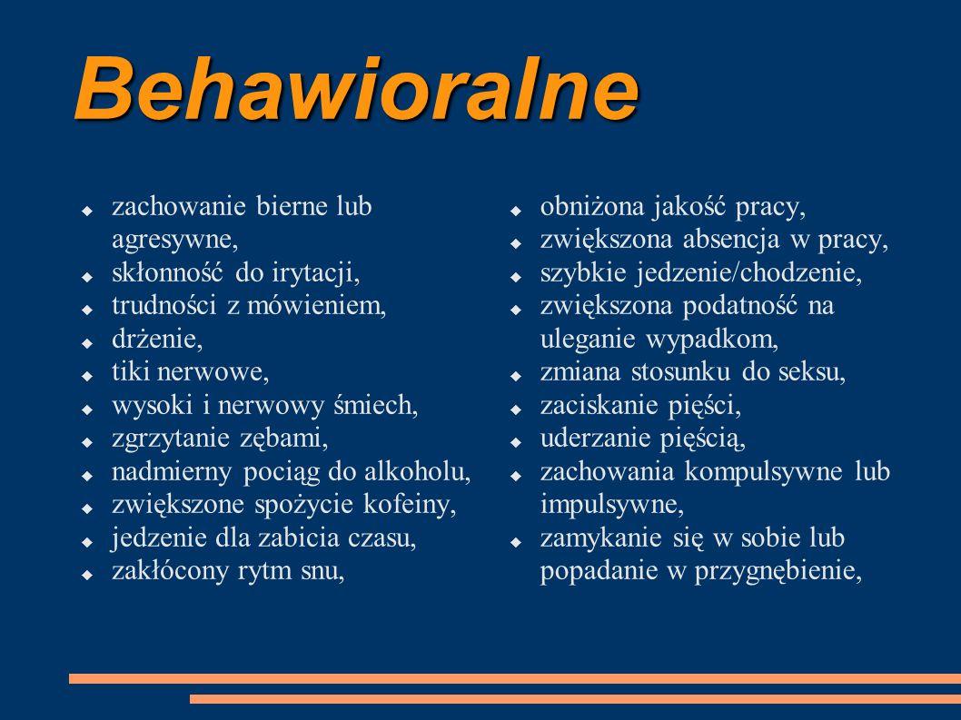 Behawioralne  zachowanie bierne lub agresywne,  skłonność do irytacji,  trudności z mówieniem,  drżenie,  tiki nerwowe,  wysoki i nerwowy śmiech