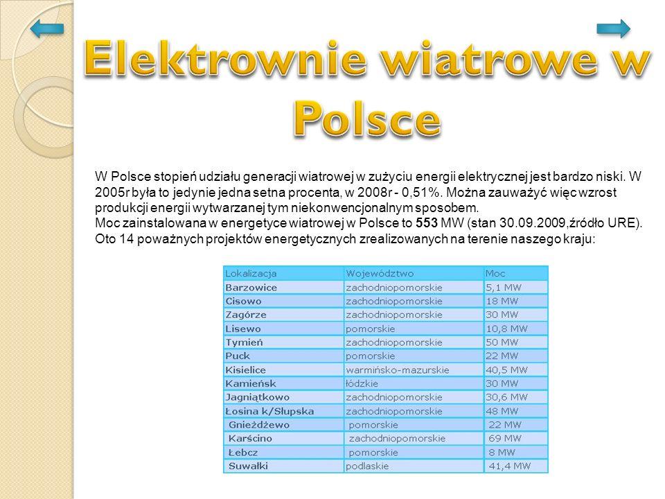 W Polsce stopień udziału generacji wiatrowej w zużyciu energii elektrycznej jest bardzo niski. W 2005r była to jedynie jedna setna procenta, w 2008r -