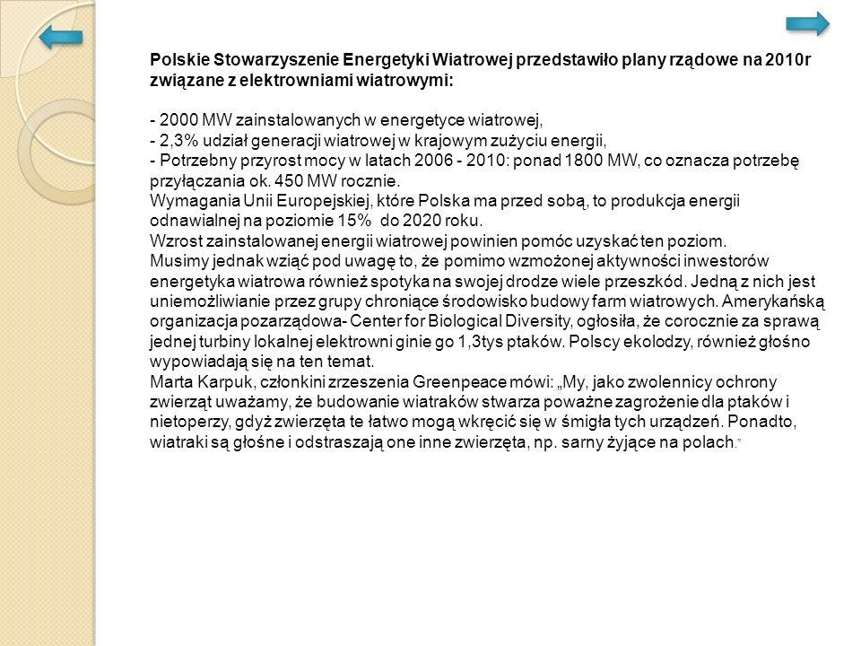 Polskie Stowarzyszenie Energetyki Wiatrowej przedstawiło plany rządowe na 2010r związane z elektrowniami wiatrowymi: - 2000 MW zainstalowanych w energetyce wiatrowej, - 2,3% udział generacji wiatrowej w krajowym zużyciu energii, - Potrzebny przyrost mocy w latach 2006 - 2010: ponad 1800 MW, co oznacza potrzebę przyłączania ok.