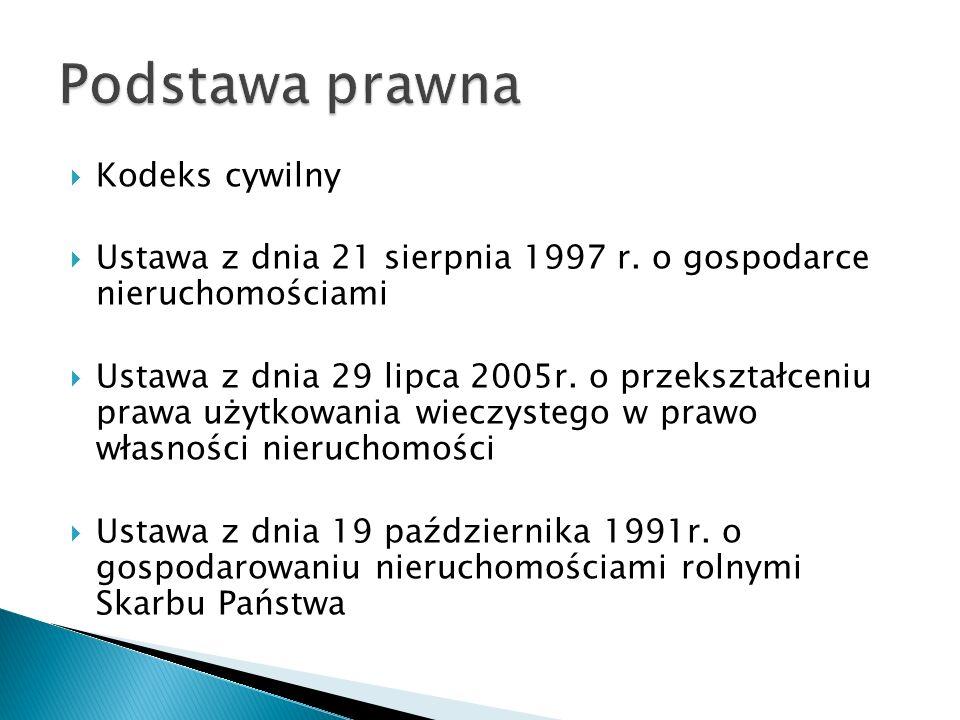  Kodeks cywilny  Ustawa z dnia 21 sierpnia 1997 r. o gospodarce nieruchomościami  Ustawa z dnia 29 lipca 2005r. o przekształceniu prawa użytkowania