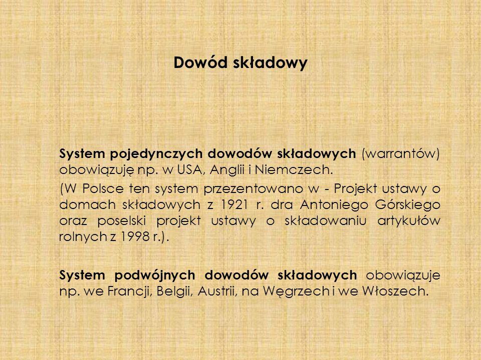 Dowód składowy System pojedynczych dowodów składowych (warrantów) obowiązuję np. w USA, Anglii i Niemczech. (W Polsce ten system przezentowano w - Pro