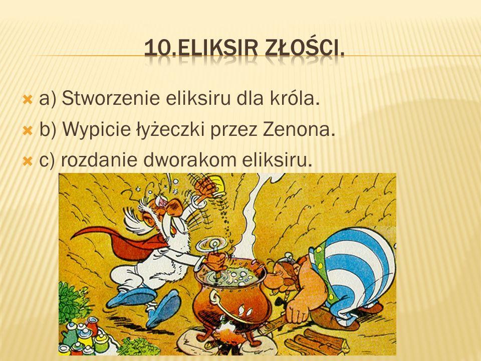 aa) Zrywanie przez podwładnych gruszek. bb) Stworzenie Gulotyny przez Zenona.