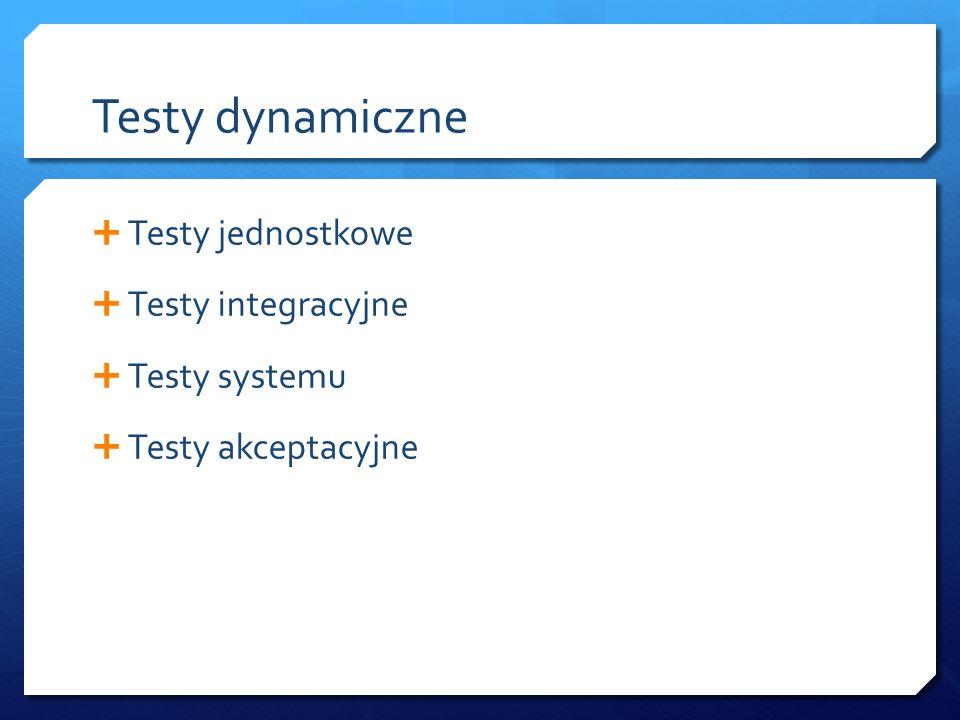 Testy dynamiczne  Testy jednostkowe  Testy integracyjne  Testy systemu  Testy akceptacyjne