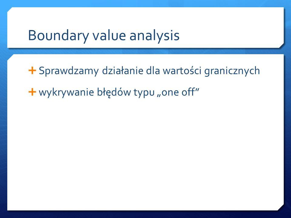 """Boundary value analysis  Sprawdzamy działanie dla wartości granicznych  wykrywanie błędów typu """"one off"""
