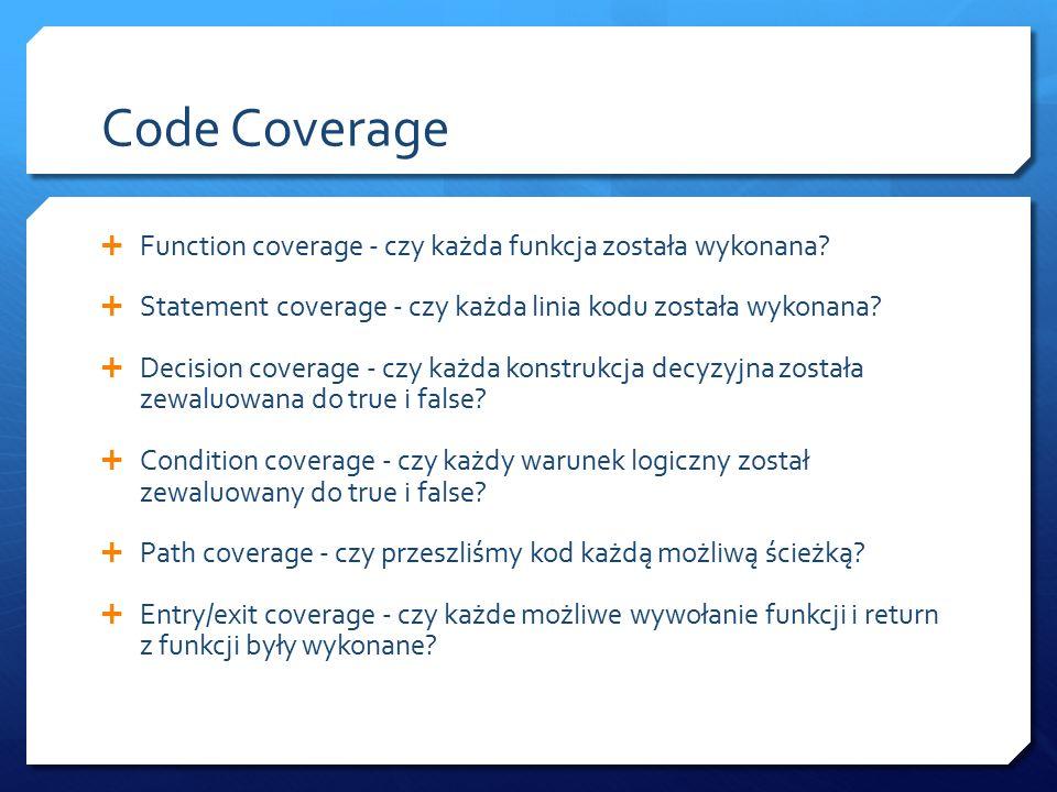 Code Coverage  Function coverage - czy każda funkcja została wykonana.