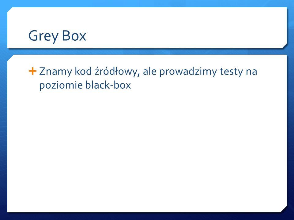 Grey Box  Znamy kod źródłowy, ale prowadzimy testy na poziomie black-box