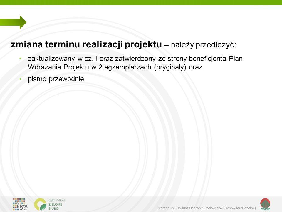 Narodowy Fundusz Ochrony Środowiska i Gospodarki Wodnej zmiana terminu realizacji projektu – należy przedłożyć: zaktualizowany w cz.