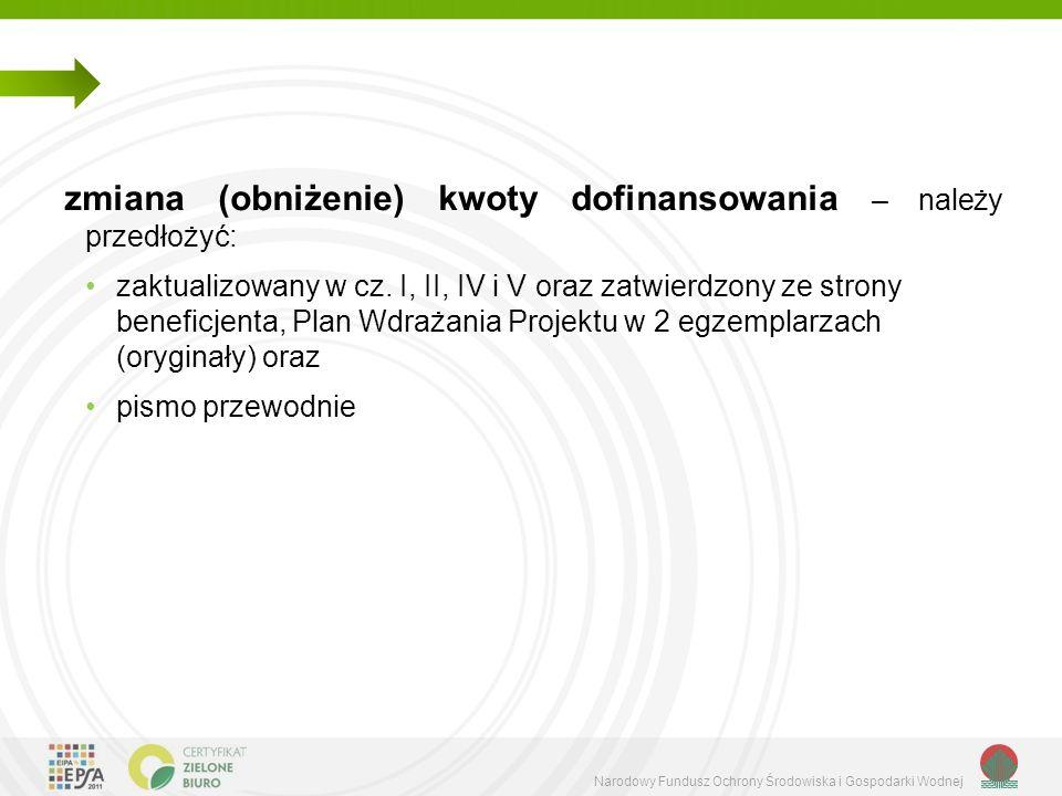 Narodowy Fundusz Ochrony Środowiska i Gospodarki Wodnej zmiana (obniżenie) kwoty dofinansowania – należy przedłożyć: zaktualizowany w cz.