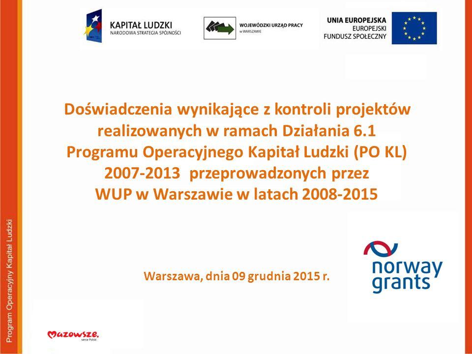 Doświadczenia wynikające z kontroli projektów realizowanych w ramach Działania 6.1 Programu Operacyjnego Kapitał Ludzki (PO KL) 2007-2013 przeprowadzo