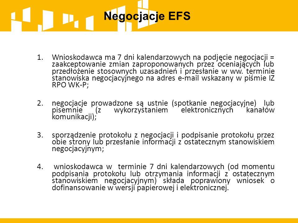 Negocjacje EFS 1.Wnioskodawca ma 7 dni kalendarzowych na podjęcie negocjacji = zaakceptowanie zmian zaproponowanych przez oceniających lub przedłożeni