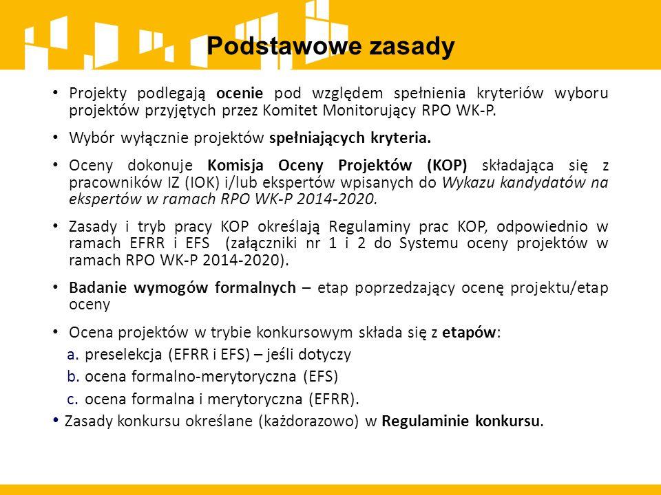 Podstawowe zasady Projekty podlegają ocenie pod względem spełnienia kryteriów wyboru projektów przyjętych przez Komitet Monitorujący RPO WK-P. Wybór w