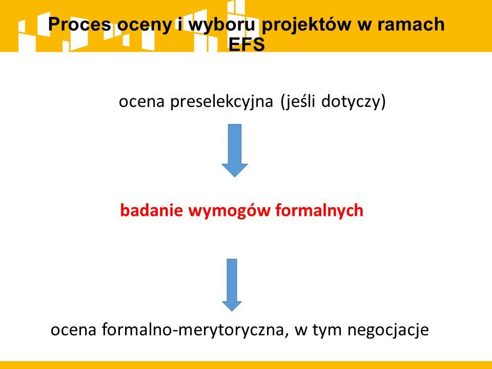 Proces oceny i wyboru projektów w ramach EFS badanie wymogów formalnych ocena formalno-merytoryczna, w tym negocjacje ocena preselekcyjna (jeśli dotyc