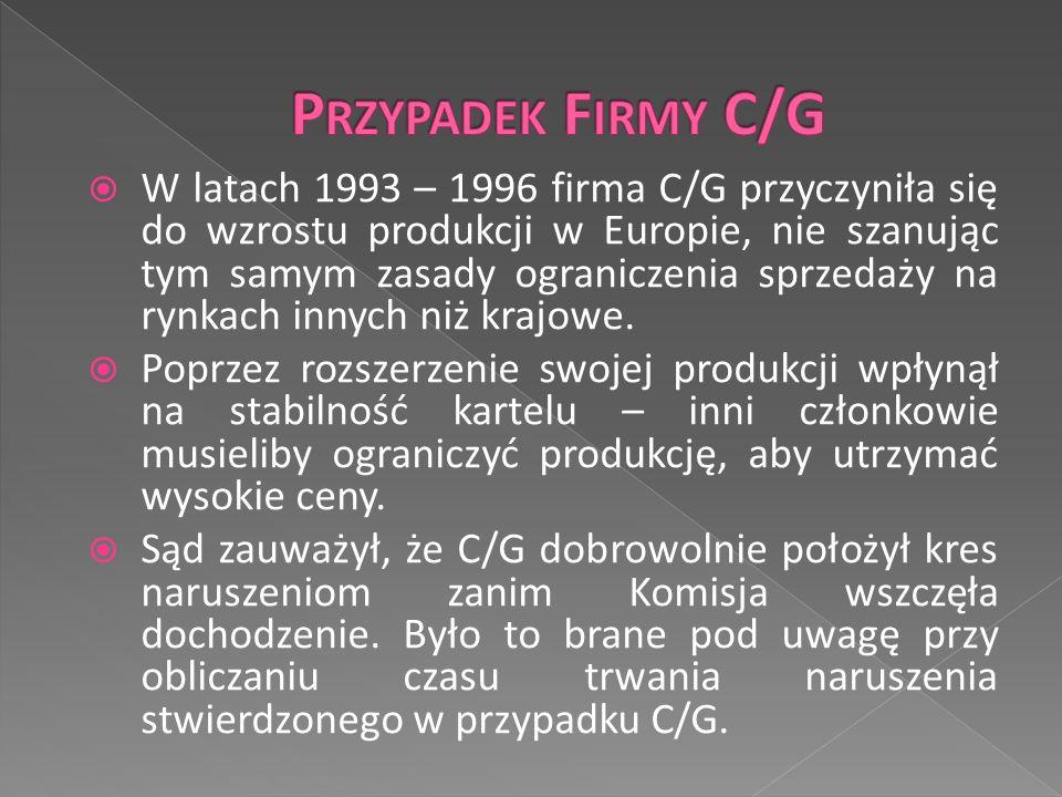  W latach 1993 – 1996 firma C/G przyczyniła się do wzrostu produkcji w Europie, nie szanując tym samym zasady ograniczenia sprzedaży na rynkach innych niż krajowe.