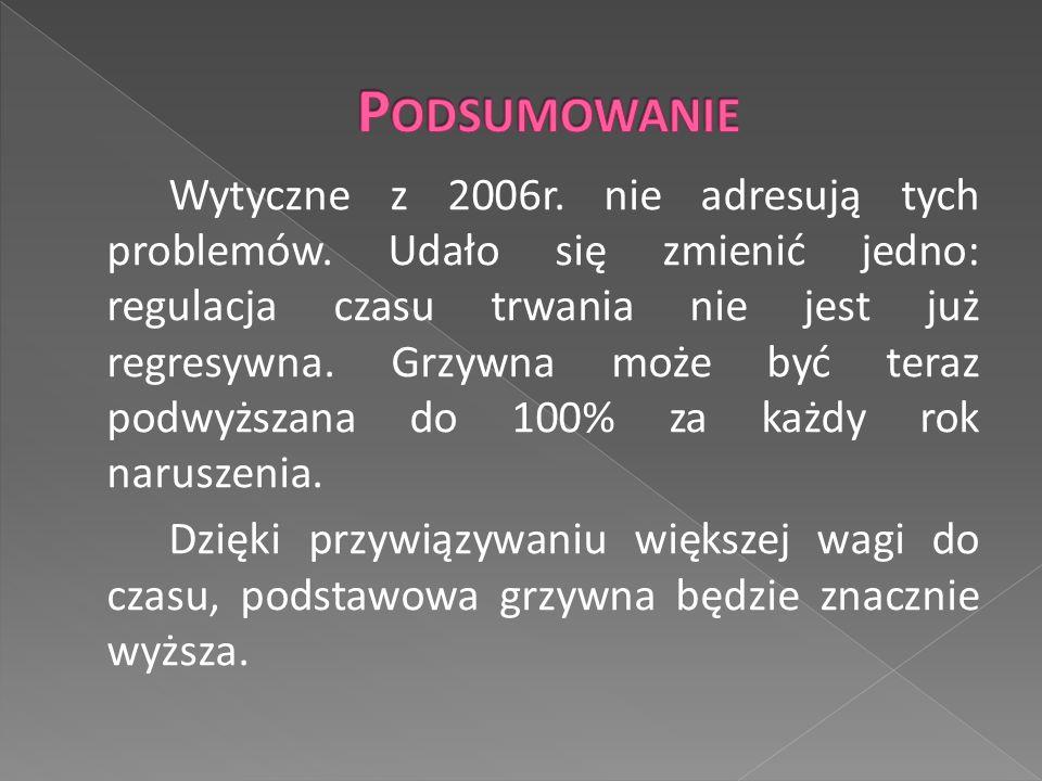 Wytyczne z 2006r. nie adresują tych problemów.