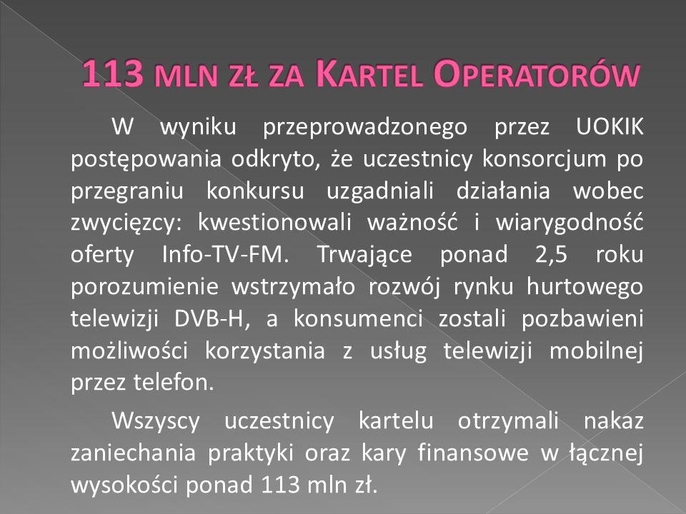 W wyniku przeprowadzonego przez UOKIK postępowania odkryto, że uczestnicy konsorcjum po przegraniu konkursu uzgadniali działania wobec zwycięzcy: kwestionowali ważność i wiarygodność oferty Info-TV-FM.