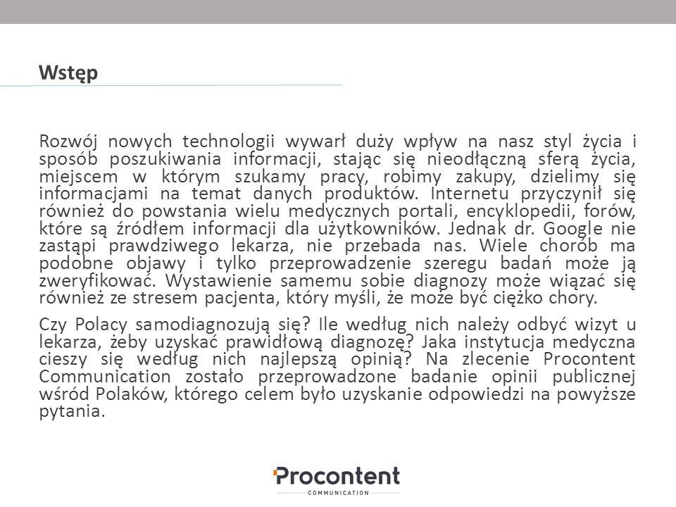 Metodologia Badanie zostało przeprowadzone z wykorzystaniem ankiety internetowej techniką RTS na zlecenie Procontent Communication.