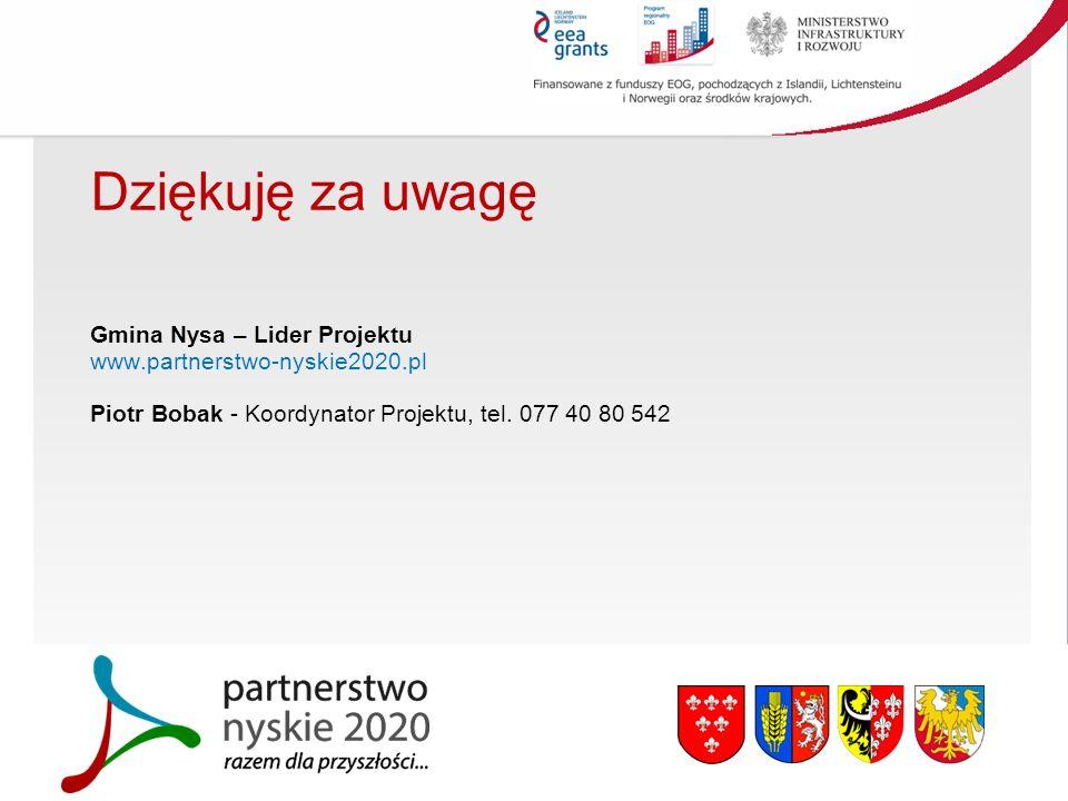 Dziękuję za uwagę Gmina Nysa – Lider Projektu www.partnerstwo-nyskie2020.pl Piotr Bobak - Koordynator Projektu, tel.