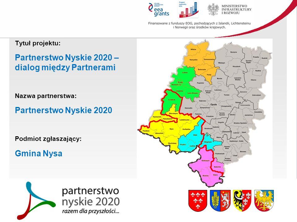 Tytuł projektu: Partnerstwo Nyskie 2020 – dialog między Partnerami Nazwa partnerstwa: Partnerstwo Nyskie 2020 Podmiot zgłaszający: Gmina Nysa