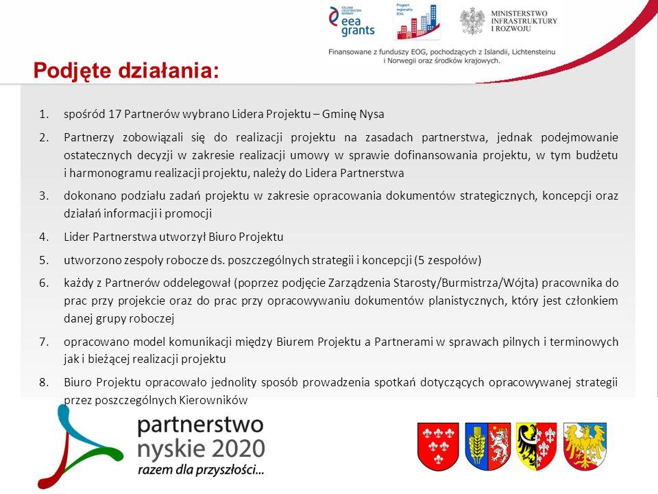 Podjęte działania: 1.spośród 17 Partnerów wybrano Lidera Projektu – Gminę Nysa 2.Partnerzy zobowiązali się do realizacji projektu na zasadach partnerstwa, jednak podejmowanie ostatecznych decyzji w zakresie realizacji umowy w sprawie dofinansowania projektu, w tym budżetu i harmonogramu realizacji projektu, należy do Lidera Partnerstwa 3.dokonano podziału zadań projektu w zakresie opracowania dokumentów strategicznych, koncepcji oraz działań informacji i promocji 4.Lider Partnerstwa utworzył Biuro Projektu 5.utworzono zespoły robocze ds.