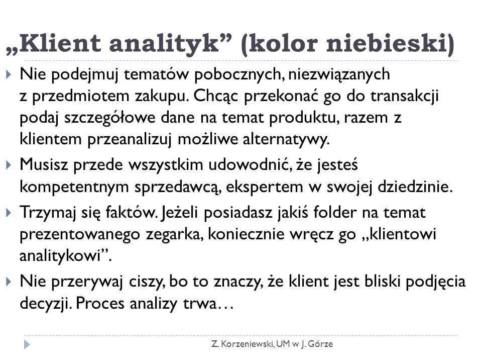 """""""Klient analityk (kolor niebieski)  Nie podejmuj tematów pobocznych, niezwiązanych z przedmiotem zakupu."""