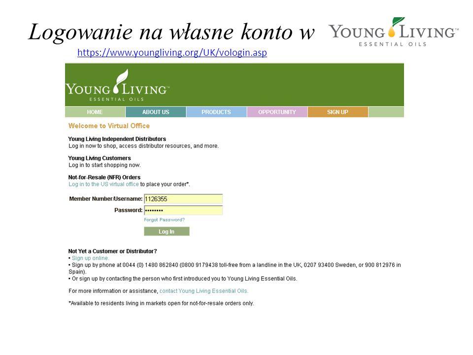 Logowanie na własne konto w https://www.youngliving.org/UK/vologin.asp