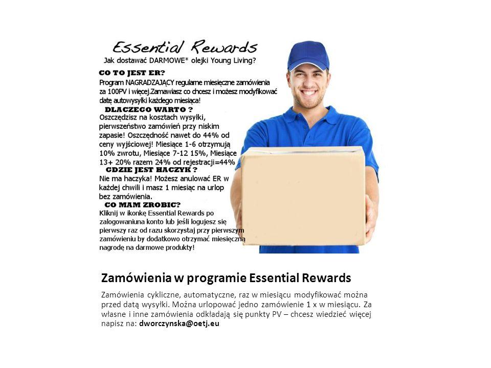 Zamówienia w programie Essential Rewards Zamówienia cykliczne, automatyczne, raz w miesiącu modyfikować można przed datą wysyłki.