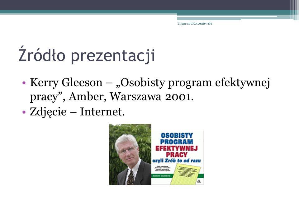 """Źródło prezentacji Kerry Gleeson – """"Osobisty program efektywnej pracy , Amber, Warszawa 2001."""